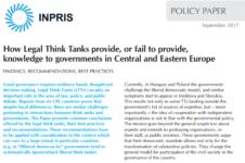 În ce mod Think Tank-urile Juridice reușesc sau nu să ofere expertiză pentru Guverne în Europa Centrală și de Est