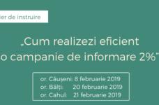"""Atelier de instruire: """"Cum realizezi eficient o campanie de informare 2%"""" (în orașele Căușeni, Bălți și Cahul )"""