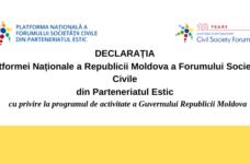 Declaration of Civil Society Regarding the Activity Program of the Government of the Republic of Moldova