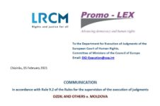 Communication on the supervision of the execution of judgments – OZDIL AND OTHERS v. MOLDOVA